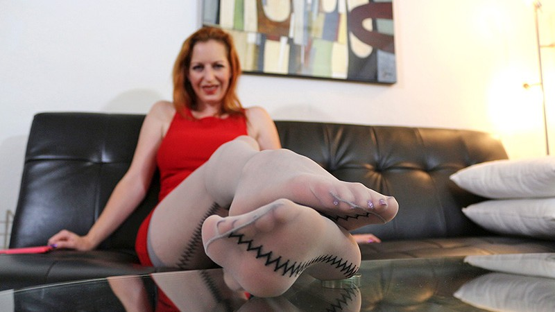 Kelly in Seamed Striped Hosiery