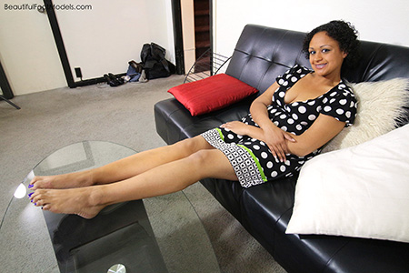 Ebony Coed with Beautiful Feet